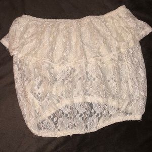 Forever 21 Sheer Lace (Ivory) Ruffle Tube Top Med.